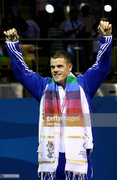 Callum Johnson of Scotland poses with the gold medal during the medal ceremony for the Light Heavy Weight Men Finals Gold Medal Bout at Talkatora...