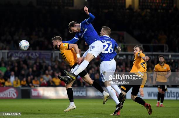 Callum Lang of Oldham Athletic attempts a shot on goal during the Sky Bet League Two match between Newport County and Oldham Athletic at Rodney...