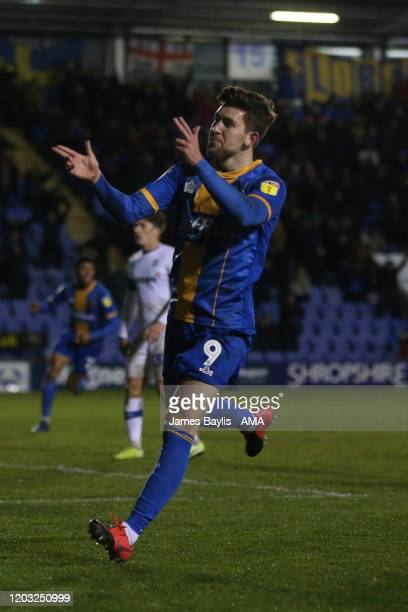Callum Lang of Shrewsbury Town celebrates after scoring a goal to make it 22 during the Sky Bet League One match between Shrewsbury Town and Tranmere...