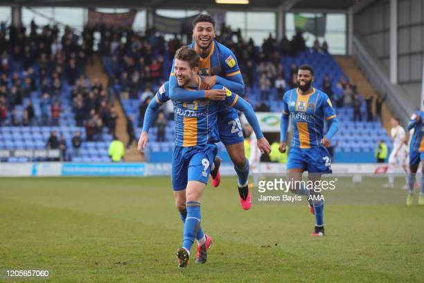 Callum Lang of Shrewsbury Town celebrates after scoring a goal to make it 20 during the Sky Bet League One match between Shrewsbury Town and Oxford...