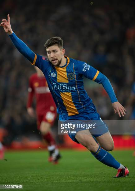 Callum Lang of Shrewsbury Town during the FA Cup Fourth Round Replay match between Liverpool and Shrewsbury Town at Anfield on February 4 2020 in...