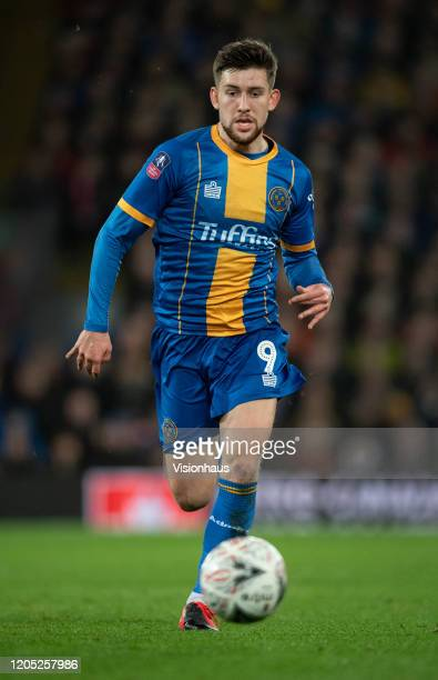 Callum Lang of Shrewsbury Town in action during the FA Cup Fourth Round Replay match between Liverpool and Shrewsbury Town at Anfield on February 4...