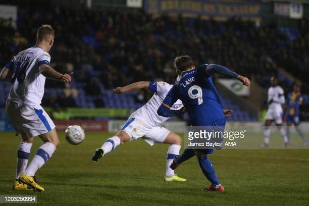 Callum Lang of Shrewsbury Town scores a goal to make it 22 during the Sky Bet League One match between Shrewsbury Town and Tranmere Rovers at...