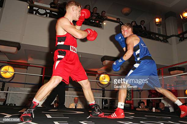 Callum Lynn and Luke Fisher box at the Royal Marines Boxing Bout at Cafe Royal in celebration of their 150th Anniversary on November 24, 2015 in...