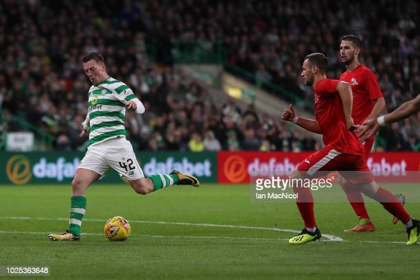 Callum MacGregor of Celtic scores their second goal during the second leg of the UEFA Europa League Play Off between Celtic and Suduva at Celtic Park...
