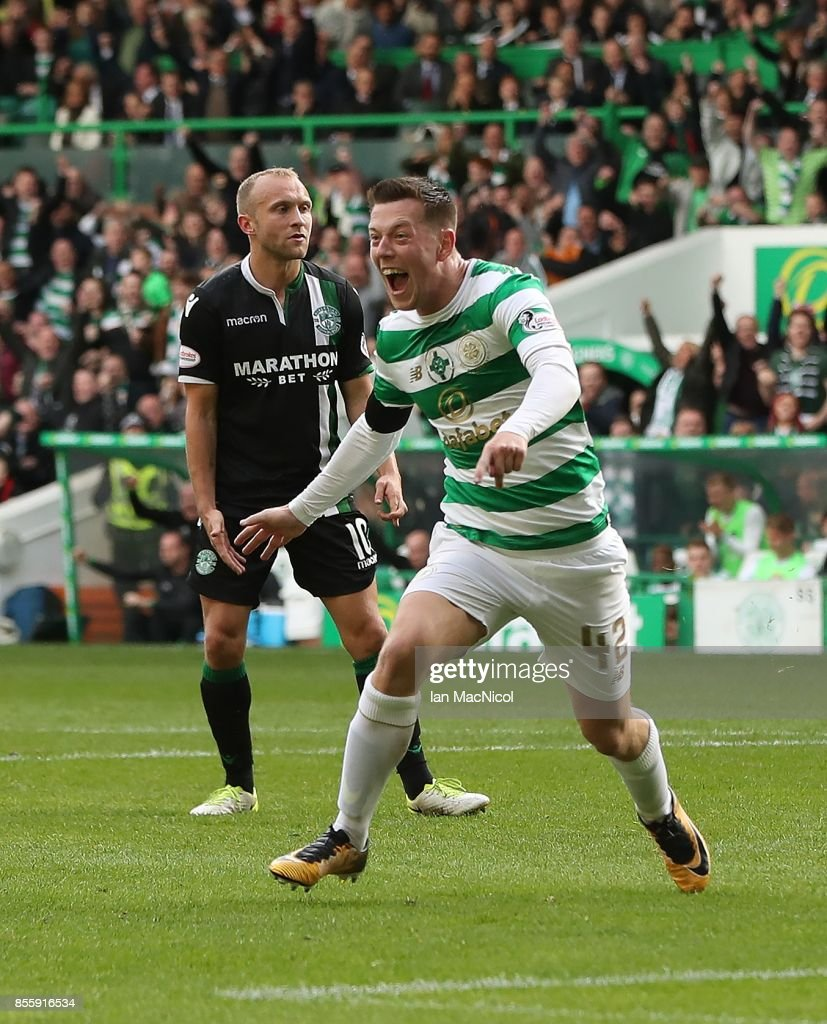Celtic Score: Callum McGregor Of Celtic Celebrates After He Scores His
