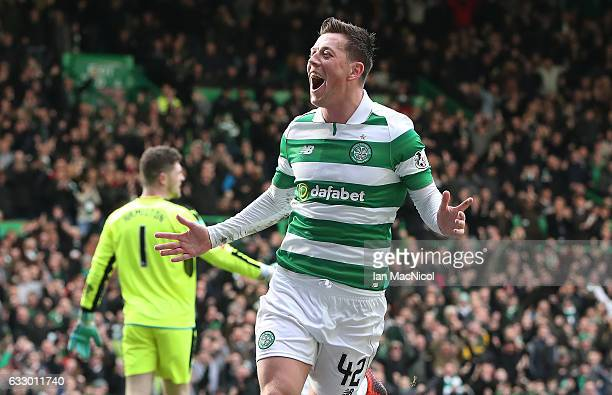 Callum McGregor of Celtic celebrates after he scores the opening goal during the Ladbrokes Scottish Premiership match between Celtic and Heart of...