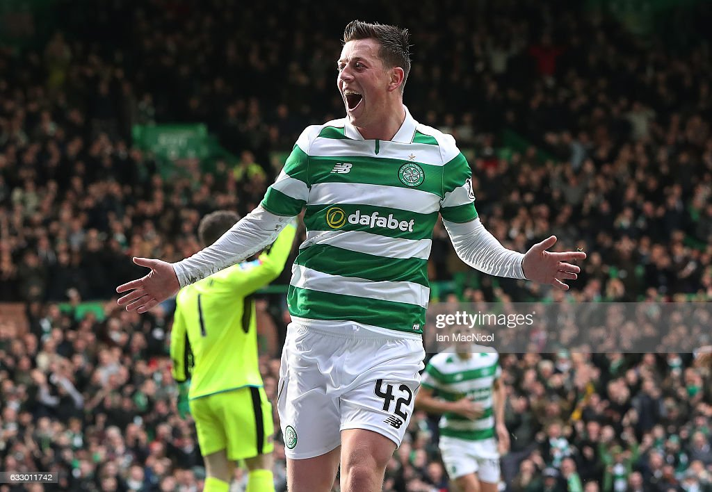 Callum McGregor of Celtic celebrates after he scores the opening goal during the Ladbrokes Scottish Premiership match between Celtic and Heart of Midlothian at Celtic Park Stadium on January 29, 2017 in Glasgow, Scotland.