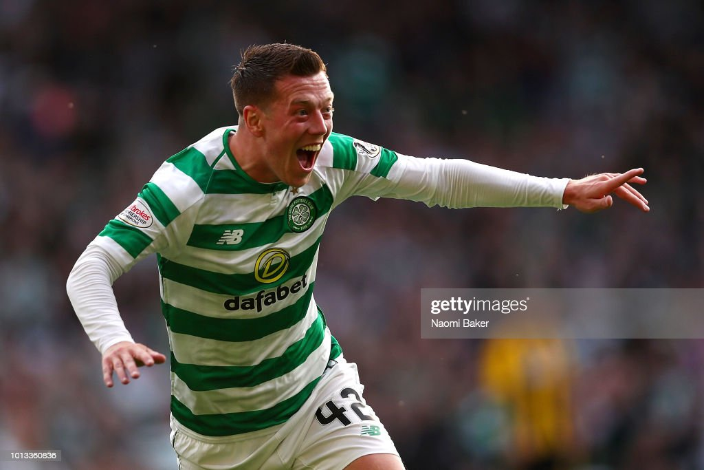 Callum McGregor of Celtic celebrates scoring his sides first goal during the UEFA Champions League Qualifier between Celtic and AEK Athens at Celtic Park Stadium on August 8, 2018 in Glasgow, Scotland.