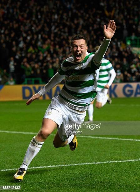 Callum McGregor of Celtic celebrates scoring his side's first goal during the UEFA Champions League group B match between Celtic FC and Bayern...
