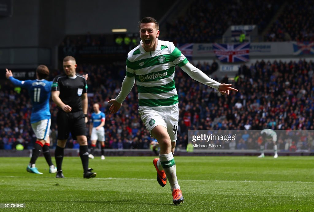 Callum McGregor of Celtic celebrates scoring his team's third goal during the Ladbrokes Scottish Premiership match between Rangers and Celtic at Ibrox Stadium on April 29, 2017 in Glasgow, Scotland.