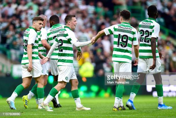 Callum McGregor of Celtic celebrates scoring in the second half to make it 50 during the UEFA Champions League Second Qualifying round 1st Leg match...