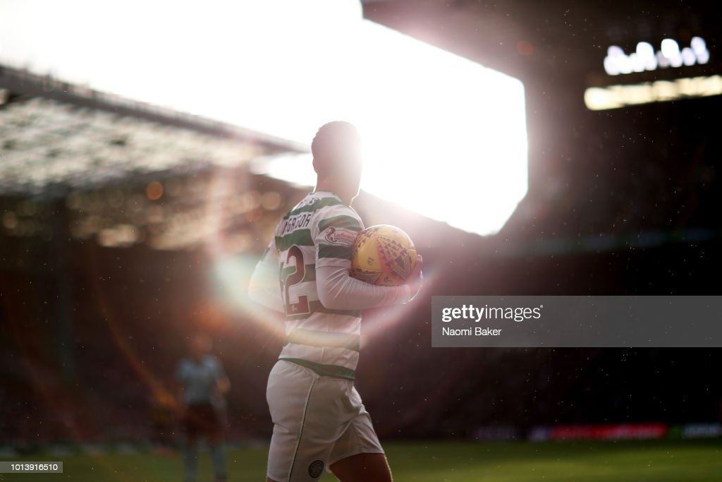Callum McGregor of Celtic collects the ball to take a corner during the UEFA Champions League Qualifiing match between Celtic and AEK Athens at Celtic Park Stadium on August 8, 2018 in Glasgow, Scotland.