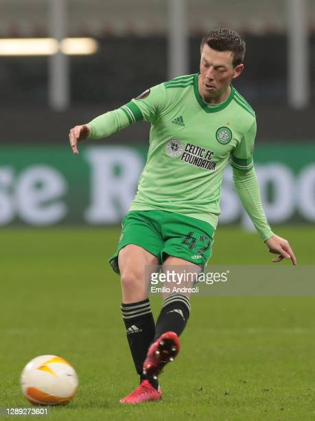 Callum McGregor of Celtic FC in action during the UEFA Europa League Group H stage match between AC Milan and Celtic at San Siro Stadium on December...