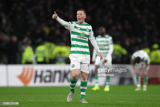 Callum McGregor of Celtic gives a thumbs up as Kieran Tierney of Celtic scores his team's first goal during the UEFA Europa League Group B match...