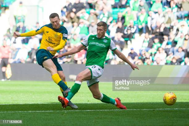 Callum McGregor of Celtic has a shot at goal during the Scottish Premier League match between Hibernian and Celtic at Easter Road on 28 September...