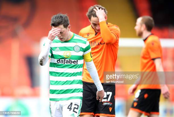 Callum McGregor of Celtic looks dejected following the Ladbrokes Scottish Premiership match between Dundee and Celtic at Tannadice Park on March 07,...