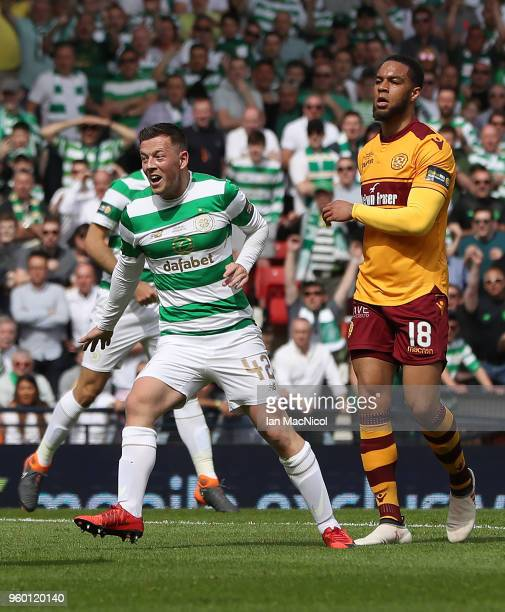Callum McGregor of Celtic reacts after he scores the opening goal during the Scottish Cup Final between Celtic and Motherwell at Hampden Park on May...