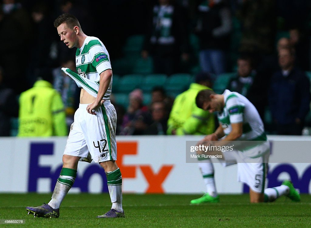 Callum McGregor of Celtic reacts after the defeat to Ajax during the UEFA Europa League Group A match between Celtic FC and AFC Ajax on November 26, 2015 in Glasgow, Scotland.