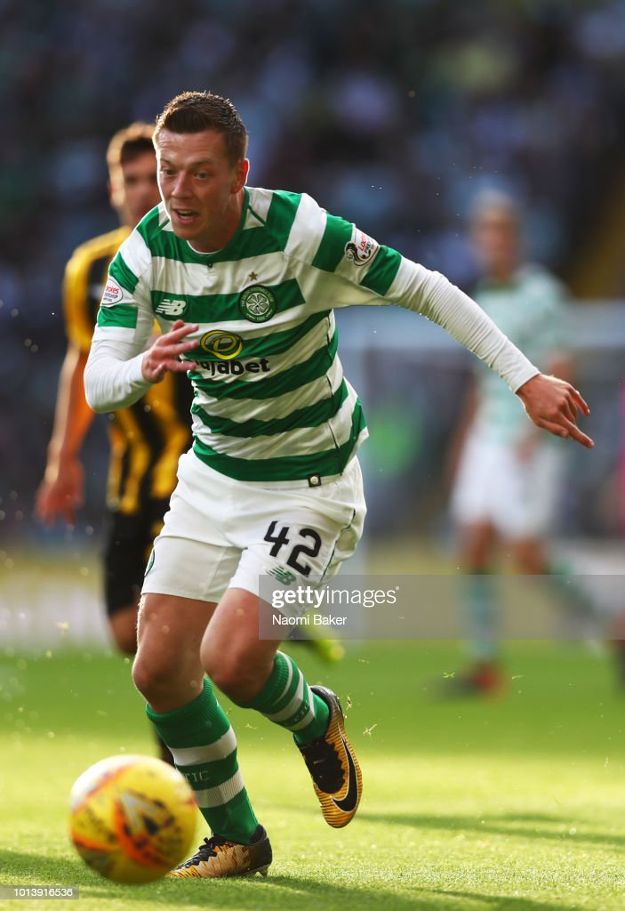 Callum McGregor of Celtic runs with the ball during the UEFA Champions League Qualifiing match between Celtic and AEK Athens at Celtic Park Stadium on August 8, 2018 in Glasgow, Scotland.