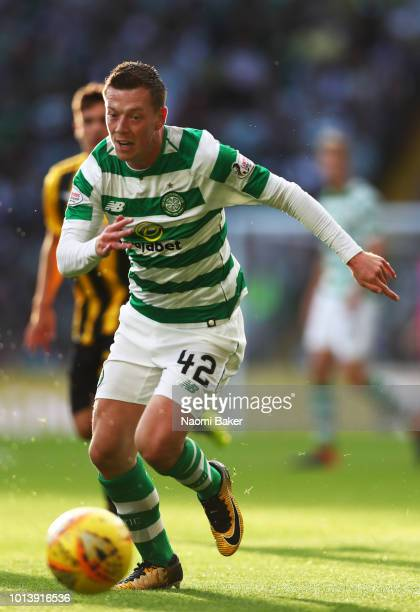 Callum McGregor of Celtic runs with the ball during the UEFA Champions League Qualifiing match between Celtic and AEK Athens at Celtic Park Stadium...