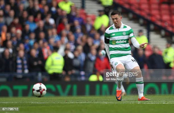 Callum McGregor of Celtic scores during the William Hill Scottish Cup semifinal match between Celtic and Rangers at Hampden Park on April 23 2017 in...