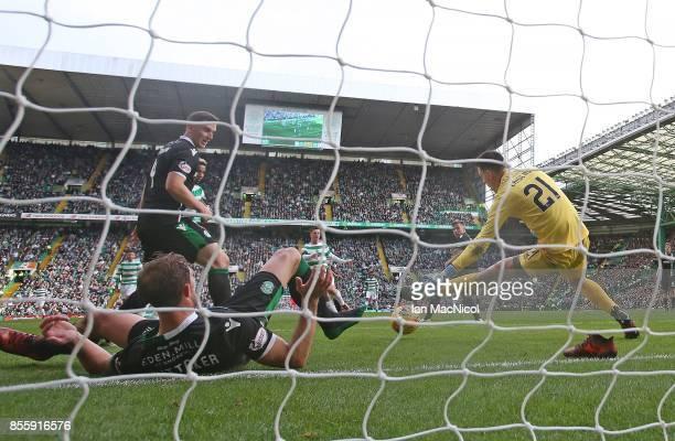 Callum McGregor of Celtic scores his second goal during the Ladbrokes Scottish Premiership match between Celtic and Hibernian at Celtic Park Stadium...