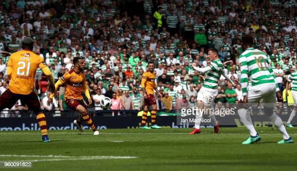 Callum McGregor of Celtic scores his sides first goal during the Scottish Cup Final between Motherwell and Celtic at Hampden Park on May 19 2018 in...