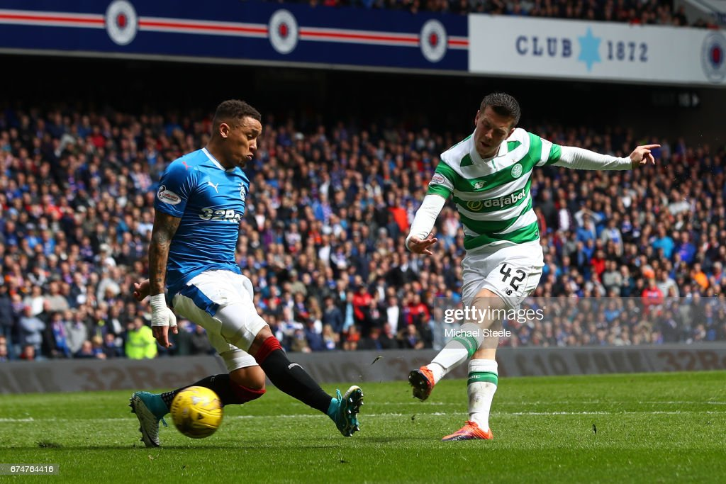 Callum McGregor of Celtic scores his team's third goal during the Ladbrokes Scottish Premiership match between Rangers and Celtic at Ibrox Stadium on April 29, 2017 in Glasgow, Scotland.