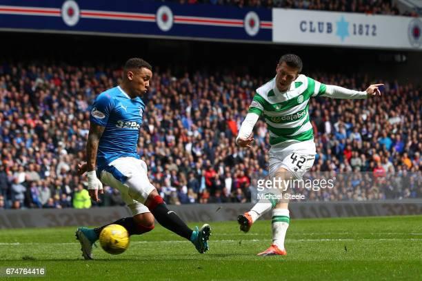 Callum McGregor of Celtic scores his team's third goal during the Ladbrokes Scottish Premiership match between Rangers and Celtic at Ibrox Stadium on...