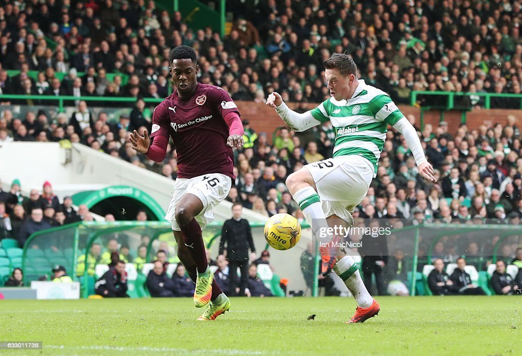 Callum McGregor of Celtic scores the opening goal during the Ladbrokes Scottish Premiership match between Celtic and Heart of Midlothian at Celtic Park Stadium on January 29, 2017 in Glasgow, Scotland.