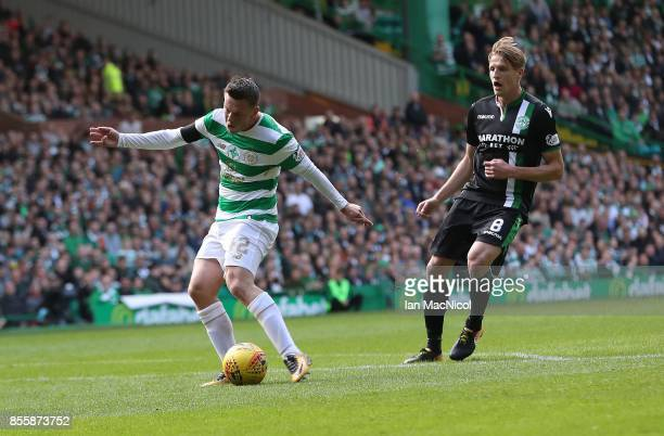 Callum McGregor of Celtic scores the opening goal during the Ladbrokes Scottish Premiership match between Celtic and Hibernian at Celtic Park Stadium...