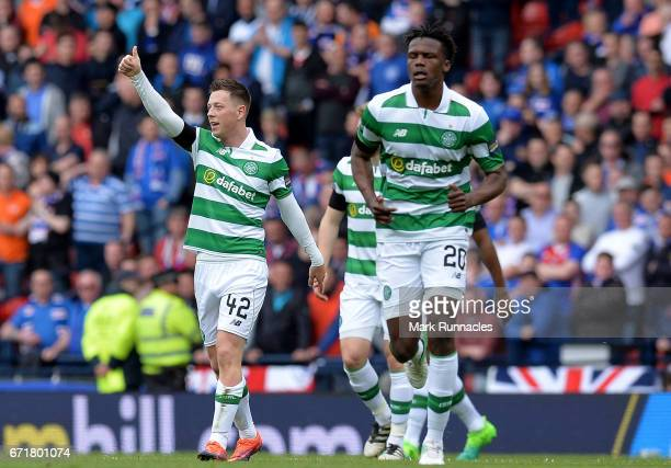 Callum McGregor of Celtic scores the opening goal during the Scottish Cup SemiFinal match between Celtic and Rangers at Hampden Park on April 23 2017...