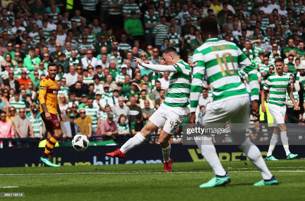 Callum McGregor of Celtic scores the opening goal during the Scottish Cup Final between Celtic and Motherwell at Hampden Park on May 19, 2018 in Glasgow, Scotland.