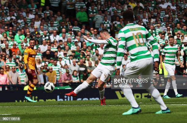 Callum McGregor of Celtic scores the opening goal during the Scottish Cup Final between Celtic and Motherwell at Hampden Park on May 19 2018 in...