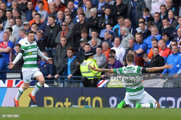 Callum McGregor of Celtic scores the opening goal with his team mate Mikael Lustig during the Scottish Cup SemiFinal match between Celtic and Rangers...