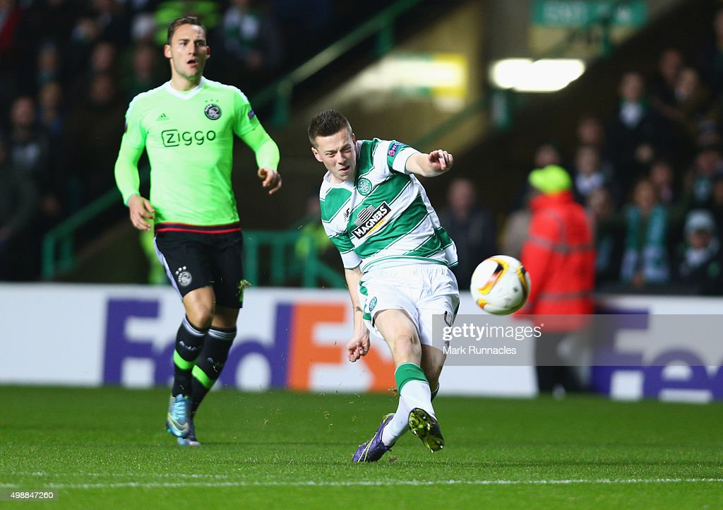 Callum McGregor of Celtic scores their first goal during the UEFA Europa League Group A match between Celtic FC and AFC Ajax at Celtic Park on November 26, 2015 in Glasgow, United Kingdom.