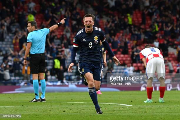 Callum McGregor of Scotland celebrates after scoring their side's first goal during the UEFA Euro 2020 Championship Group D match between Croatia and...