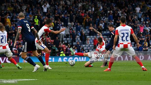 Callum McGregor of Scotland scores their side's first goal during the UEFA Euro 2020 Championship Group D match between Croatia and Scotland at...