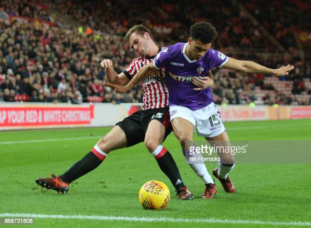 Callum McManaman of Sunderland takes on Antonee Robinson of Bolton during the Sky Bet Championship match between Sunderland and Bolton Wanderers at...