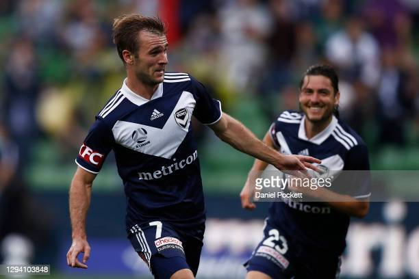 Callum McManaman of the Victory celebrates after scoring a goal during the A-League match between the Melbourne Victory and the Brisbane Roar at AAMI...