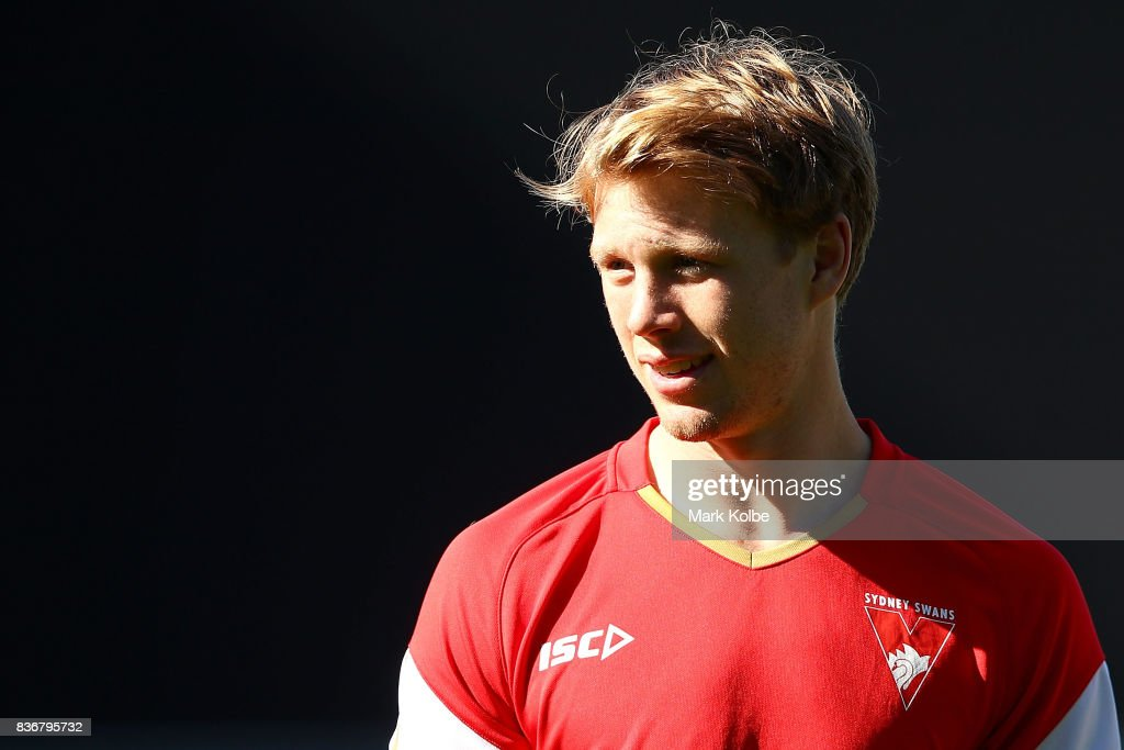 Callum Mills looks on during a Sydney Swans AFL training session at Sydney Cricket Ground on August 22, 2017 in Sydney, Australia.