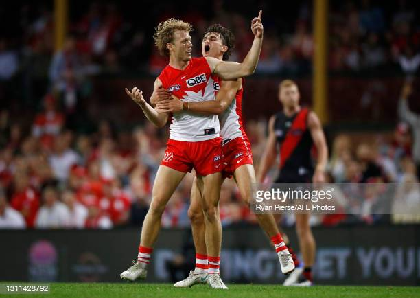 Callum Mills of the Swans celebrates a goal during the round four AFL match between the Sydney Swans and the Essendon Bombers at Sydney Cricket...
