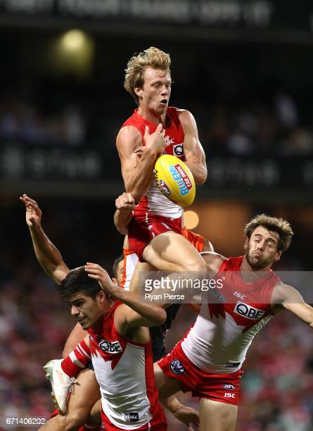 Callum Mills of the Swans leaps for the ball during the round five AFL match between the Sydney Swans and the Greater Western Sydney Giants at Sydney...