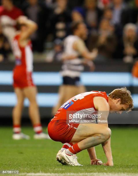 Callum Mills of the Swans looks dejected after a loss during the 2017 AFL Second Semi Final match between the Geelong Cats and the Sydney Swans at...