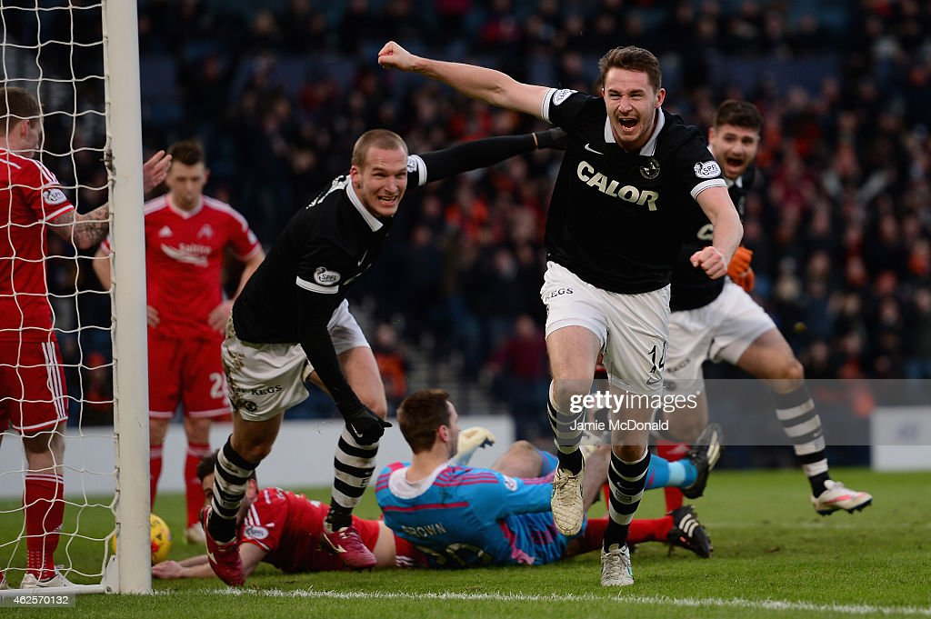 Callum Morris of Dundee United celebrates his goal during the Scottish League Cup Semi-Final match between Dundee United and Aberdeen at Hampden Park on January 31, 2015 in Glasgow, Scotland.