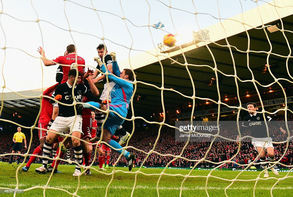 Callum Morris of Dundee United scores his goal during the Scottish League Cup Semi-Final match between Dundee United and Aberdeen at Hampden Park on January 31, 2015 in Glasgow, Scotland.