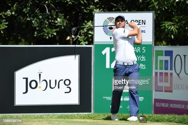 Callum Mowat of South Africa tees off on the 12th hole during day two of the South African Open at Randpark Golf Club on December 7 2018 in...