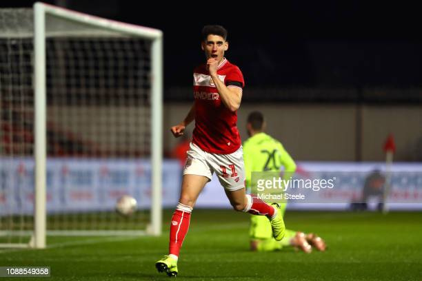 Callum O'Dowda of Bristol City celebrates scoring the first Bristol City goal during the FA Cup Fourth Round match between Bristol City and Bolton...