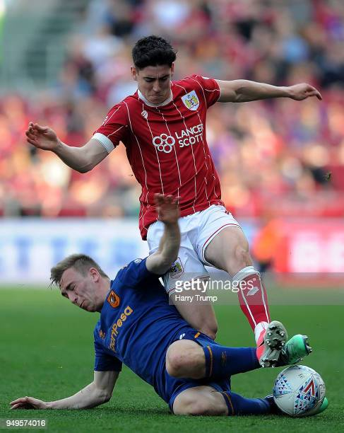 Callum O'Dowda of Bristol City is tackled by Jarrod Bowen of Hull City during the Sky Bet Championship match between Bristol City and Hull City at...